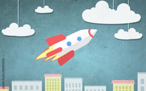 ilustracja-kreskowka-rakiety-latajace-nad