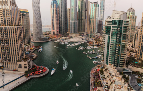Photo  General view of Dubai Marina at twilight from the top