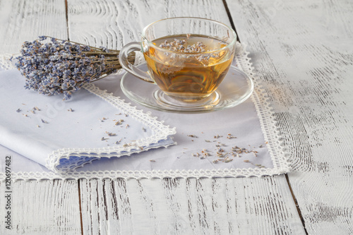 bunch of lavender. Easy style of Provence. White wood background