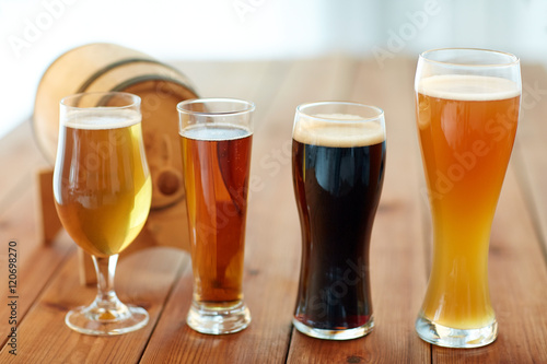 Canvas Prints Beer / Cider close up of different beers in glasses on table