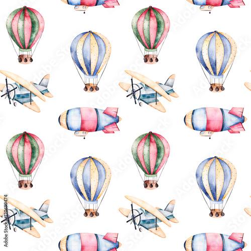 wzor-z-balonami-smiglowcami-i-samolotami