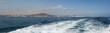 Fuerteventura, Isole Canarie: lo skyline di Corralejo con il Vulcano Bayuyo visti dall'Oceano Atlantico il 5 Settembre 2016