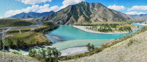 Riviere Place of the confluence of the rivers Katun and Chuya in Altai m