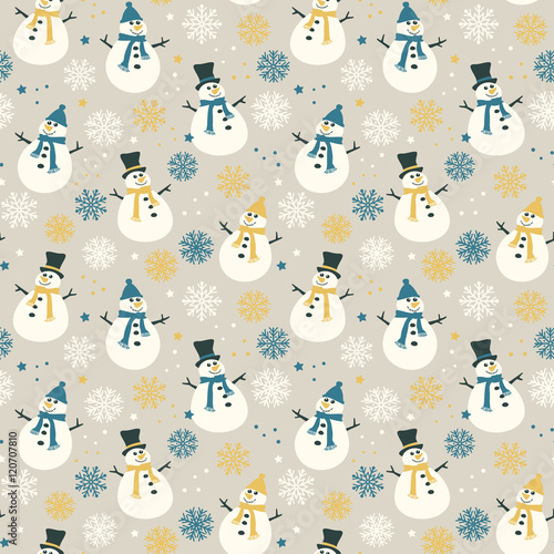 Cotton fabric Snowflakes and snow - seamless pattern, vector