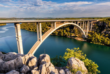 Concrete Arch Bridge Over The River Krka Near Skradin And The Krka National Park, Carries A1 Motorway, Dalmatia, Croatia