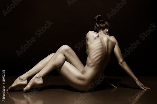 Fényképezés  Art photo of sexy nude woman black and white