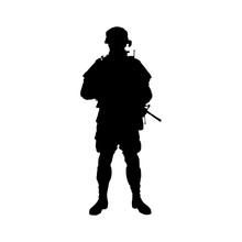 Soldier  Silhouette. Vector Illustration
