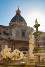 Sculptures Of The Fontana Pretoria In Piazza Pretoria In Palermo, Sicily