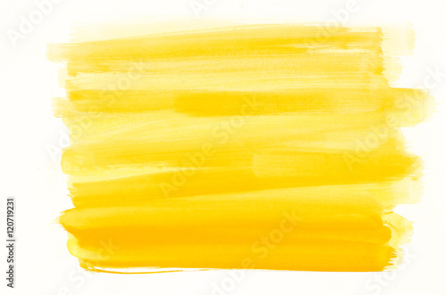 yellow watercolor texture painted on white paper background