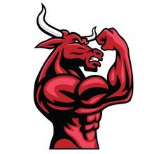 Bull Bodybuilder Posing His Mu...