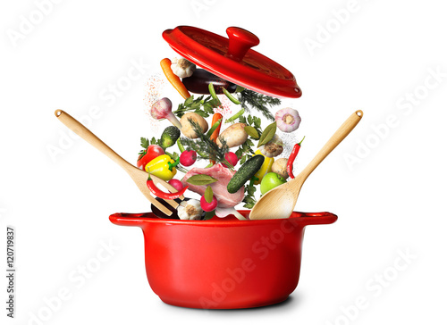 Fotografie, Obraz  Big red pot for soup with vegetables