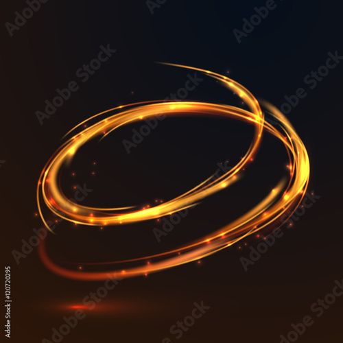 Fototapety, obrazy: Glowing fire gold circle light effect on black background