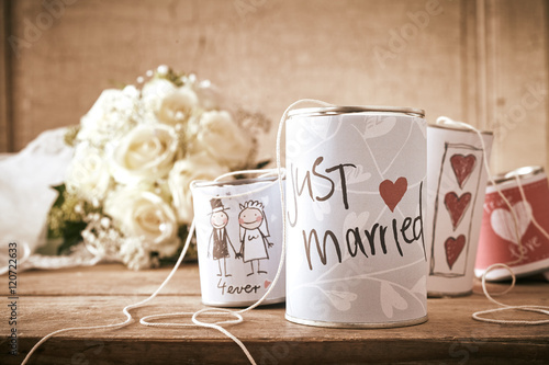 Traditional Tin Can Wedding Decorations On Table Buy This Stock