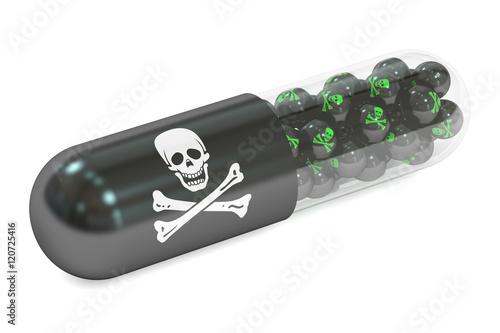 Fotografía  poison capsule, 3D rendering