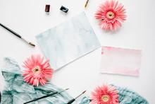 Workspace. Pink Gerbera Buds A...