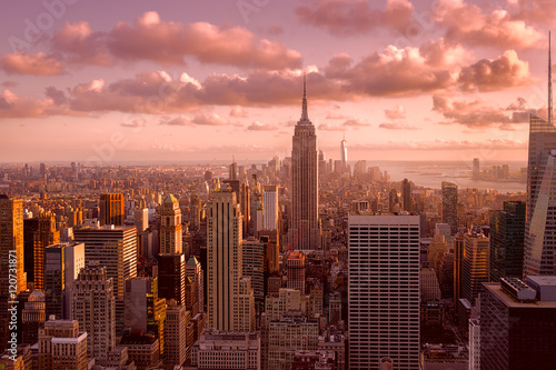 Beautiful sunset in New York City