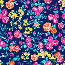 Neon Bright Rose Garden - Seamless Vector Pattern