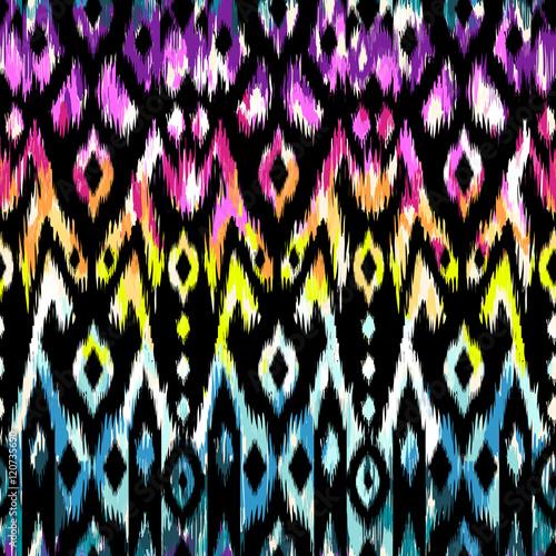 Aluminium Prints Boho Style rainbow ikat pattern design - seamless background