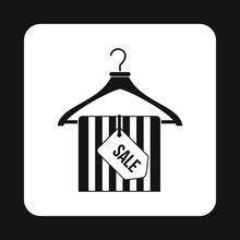 Coat Hanger With Scarf And Sale Tag Icon In Simple Style On A White Background Vector Illustration