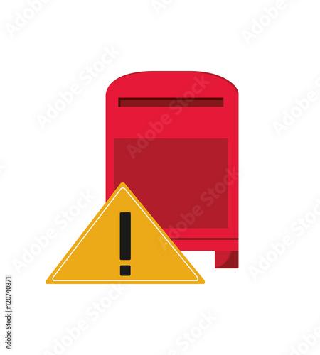 Poster de jardin Havana flat design mailbox and warning sign icon vector illustration