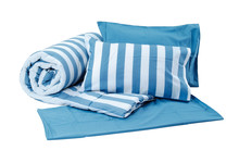 Blue Set Of Pillows And Blanke...