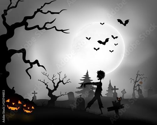 Plakat Noc Halloween tło z chodzeniem zombie, dynie i pełni księżyca