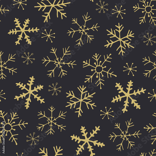 Cotton fabric Gold snowflakes seamless pattern - vector