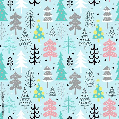 Stoffe zum Nähen Weihnachtsbaum Musterdesign Hintergrund-Design mit der Hand zeichnen