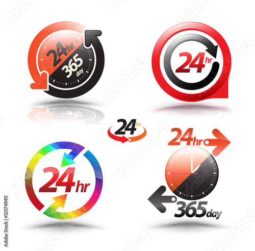 Fényképezés  24 hours open customer service collection. Vector illustration.