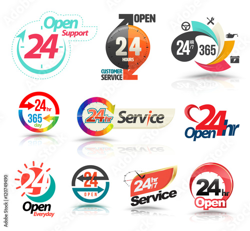 Fényképezés  24 hours open customer service collection. Vector illustration...