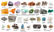 Various Raw Gemstones And Crystals With Names