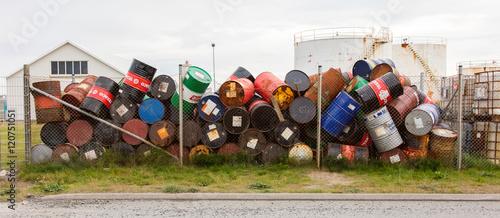 Obraz na plátne AKRANES, ICELAND - AUGUST 1, 2016: Oil barrels or chemical drums