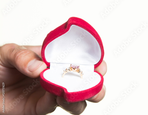 Stampe  Ring in an open box in a man's hand, the proposal - isolate