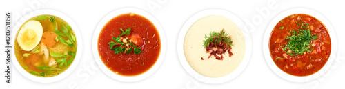 Fotografie, Obraz  4 plates of fresh soups