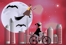 Vector Illustration Of A Witch Riding A Bike Around The City And The Witch Flying On A Broom Over The City In Celebration Of Halloween In Celebration Of Halloween