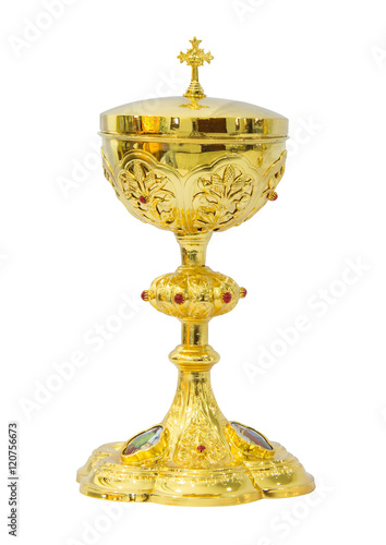 Fotografie, Obraz  Chalice Eucharist on white background