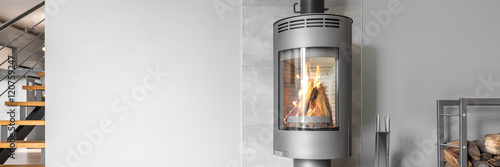 Fotomural Functional and modern fireplace