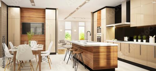 Fotografia  Modern large kitchen