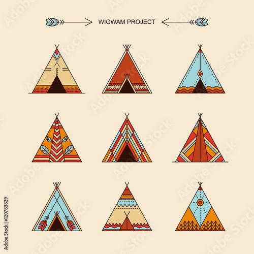 Fotografía Wigwams with ornamental elements