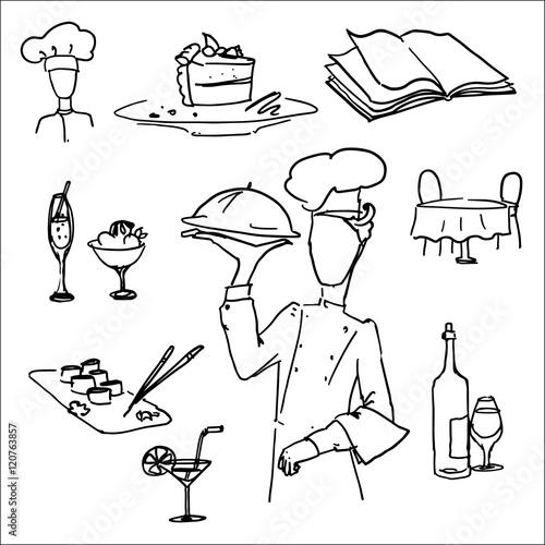 Foto op Plexiglas Voor kinderen vector icon set, restaurant, waiter, food, dessert, wine, sushi,