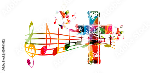 Fototapeta Creative music style template vector illustration, colorful cross with music staff and notes background. Religion themed design for gospel church music and concert, choir singing, Christianity, prayer obraz