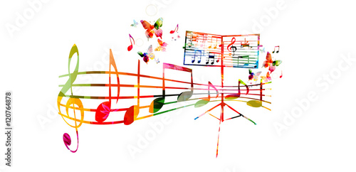 Creative Music Style Template Vector Illustration Colorful Stand With Staff And Notes