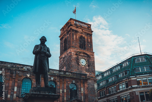 clocktower and statue at manchester