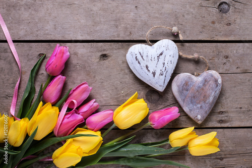 Photo  Border from yellow and pink spring tulips  and two decorative he