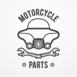 Abstract motorcycle shop or store logo made of windshield and crossed wrenches. Silhouette line style. Bike vector stock image.