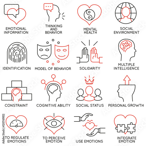 Fotografie, Obraz  Vector set of 16 icons related to business management, strategy, career progress and business process
