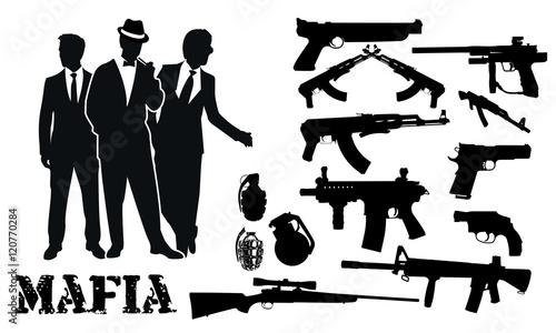 Fotografie, Obraz  mafia gun package silhouettes