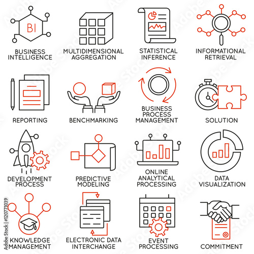 Valokuva  Vector set of 16 icons related to business management, strategy, career progress and business process