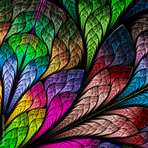 Fotografie, Obraz  Multicolored floral pattern in stained-glass window style. You c
