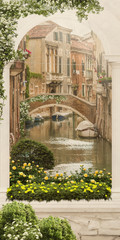 FototapetaStreet view with flowers and river, old city